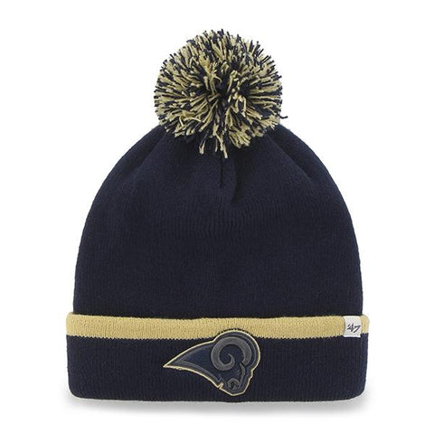 Los Angeles Rams 47 Brand Navy Gold Baraka Knit Cuffed Poofball Beanie Hat Cap