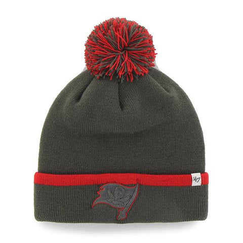 73993470567 Shop Tampa Bay Buccaneers 47 Brand Gray Red Baraka Knit Cuff Poofball  Beanie Hat Cap