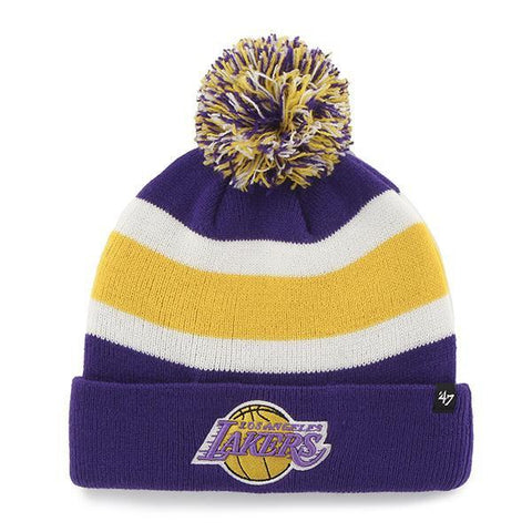 Shop Los Angeles Lakers 47 Brand Tri-Tone Breakaway Retro 1967 Poof Hat Cap Beanie