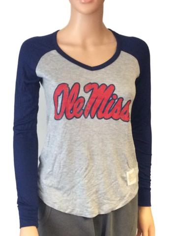 Ole Miss Rebels Retro Brand Women Navy Two Tone V-Neck Long Sleeve T-Shirt