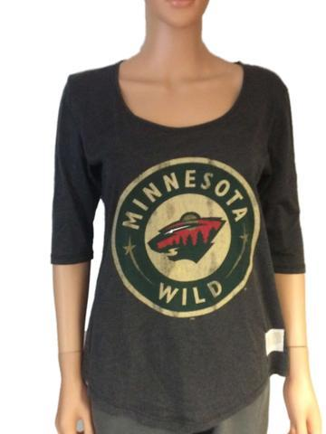 Minnesota Wild Retro Brand Women Gray 3/4 Sleeve Scoop Boyfriend T-Shirt