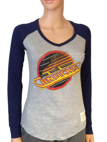 Vancouver Canucks Retro Brand Women Navy Two Tone V-Neck LS T-Shirt