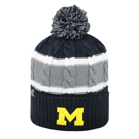 Shop Michigan Wolverines TOW YOUTH Navy Striped Cable Windy Cuffed Beanie Hat Cap
