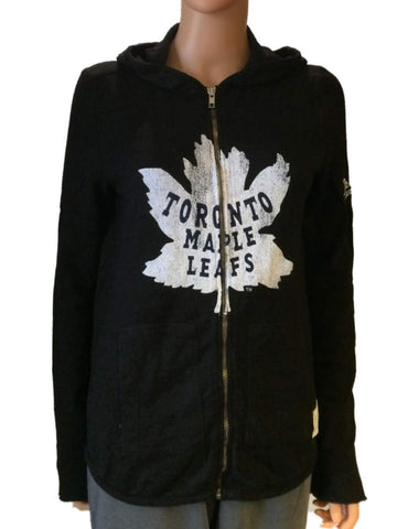 Toronto Maple Leafs Retro Brand Women Black Quad Blend Zip Up Hoodie Jacket