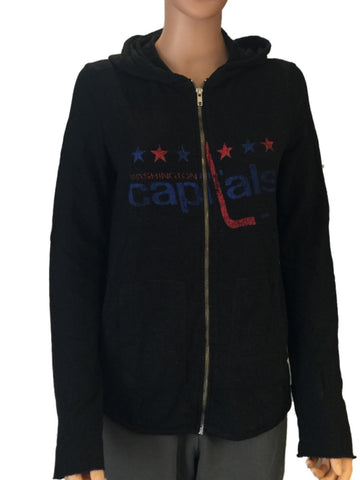 Washington Capitals Retro Brand Women Black Quad Blend Zip Up Hoodie Jacket