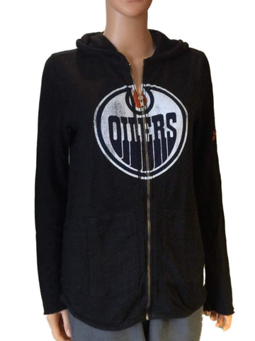 Edmonton Oilers Retro Brand Women Black Quad Blend Zip Up Hoodie Jacket
