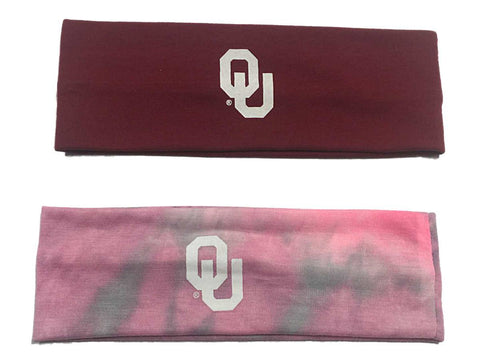 Oklahoma Sooners Top of the World Dark Red & Tie-Dye Pink 2 Pack Yoga Headbands
