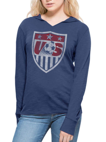 USA United States Soccer Team 47 Brand Women Blue Primetime Hood LS T-Shirt