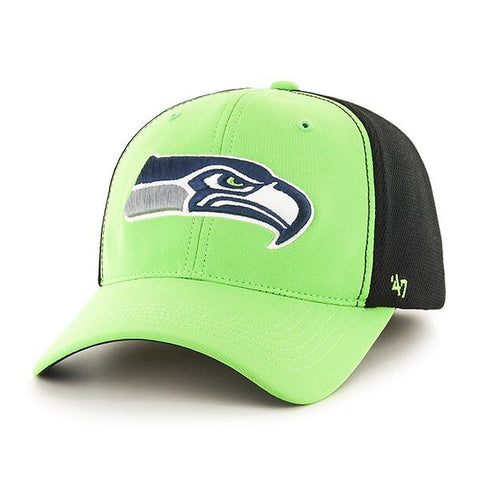 Seattle Seahawks 47 Brand Lime Green Two Tone Draft Day Closer Flexfit Hat Cap