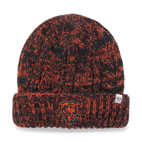 Chicago Bears 47 Brand Women Orange Navy Prima Cuff Knit Beanie Hat Cap - Sporting Up