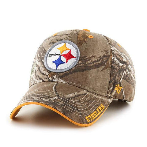 e2d16d2fefe65 Shop Pittsburgh Steelers 47 Brand Realtree Camo Frost MVP Adjustable Hat Cap