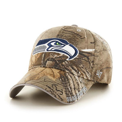 Seattle Seahawks 47 Brand Realtree Camo Frost MVP Adjustable Hat Cap