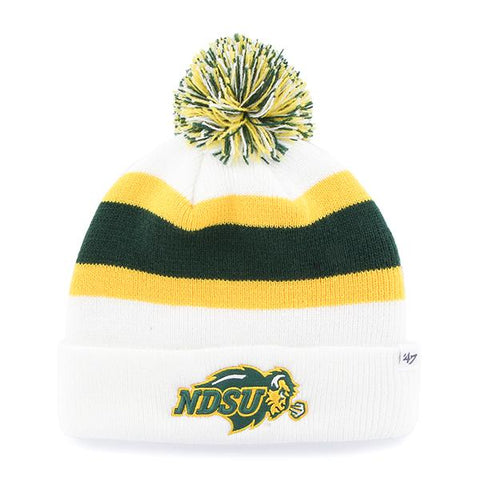 North Dakota State Bison 47 Brand White Green Yellow Breakaway Beanie Hat Cap