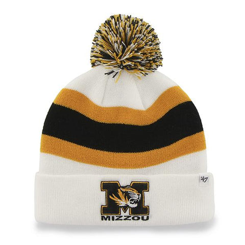 Shop Missouri Tigers 47 Brand White Gold Black Breakaway Knit Cuffed Beanie Hat Cap