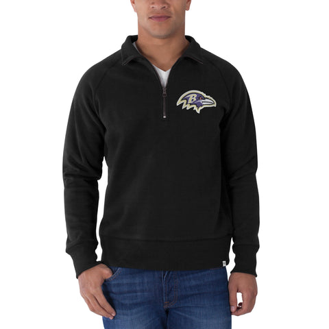 Baltimore Ravens 47 Brand Black 1/4 Zip Cross-Check Pullover Sweatshirt