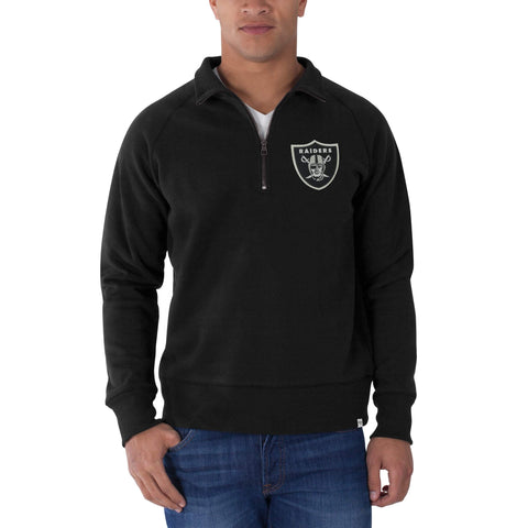 Oakland Raiders 47 Brand Jet Black 1/4 Zip Cross-Check Pullover Sweatshirt