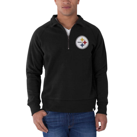 Pittsburgh Steelers 47 Brand Black 1/4 Zip Cross-Check Pullover Sweatshirt