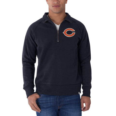 Shop Chicago Bears 47 Brand Fall Navy 1/4 Zip Cross-Check Pullover Sweatshirt