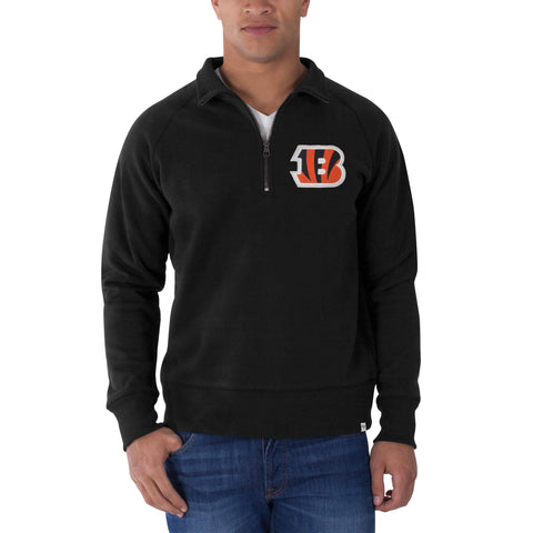 Shop Cincinnati Bengals 47 Brand Black 1/4 Zip Cross-Check Pullover Sweatshirt
