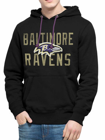 Shop Baltimore Ravens 47 Brand Black Cross-Check Pullover Hoodie Sweatshirt