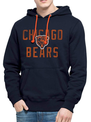 Shop Chicago Bears 47 Brand Navy Cross-Check Pullover Hoodie Sweatshirt