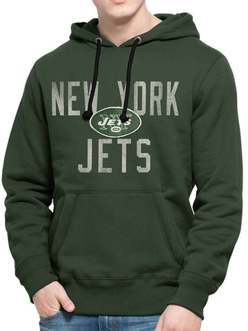 Shop New York Jets 47 Brand Green Cross-Check Pullover Hoodie Sweatshirt