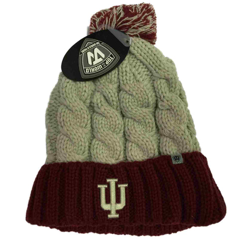 Shop Indiana Hoosiers TOW Women Gray Red Gust Fashion Knit Cuffed Beanie Hat Cap