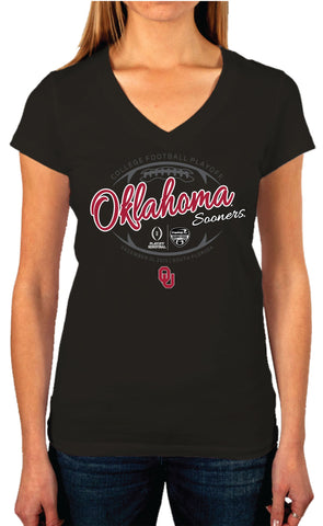 Oklahoma Sooners Victory 2016 College Football Playoff Women Black T-Shirt - Sporting Up