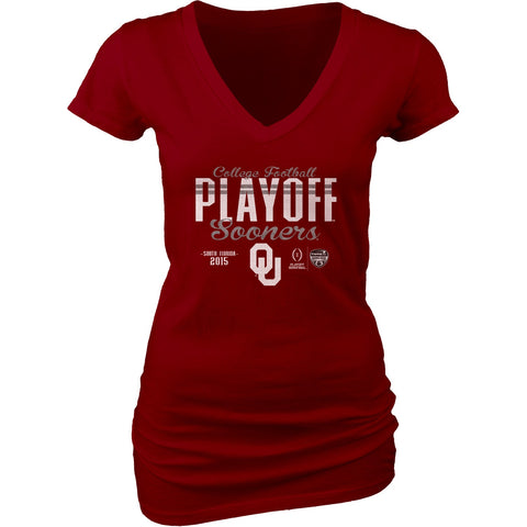 Oklahoma Sooners Blue 84 Women 2016 College Football Playoff V-Neck T-Shirt