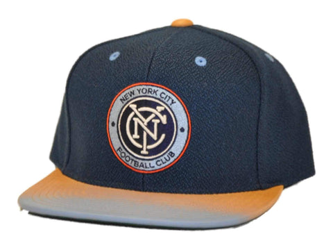 New York City FC Mitchell & Ness Flatbill Blue Gray Leather Strap Hat Cap Adj