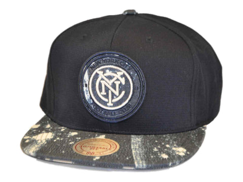 New York City FC Mitchell & Ness Flatbill Navy White Leather Strap Hat Cap Adj