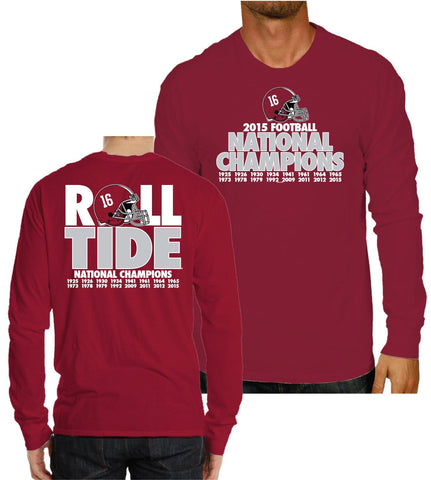 Alabama Crimson Tide 2016 College Football Champs Roll Tide Red LS T-Shirt