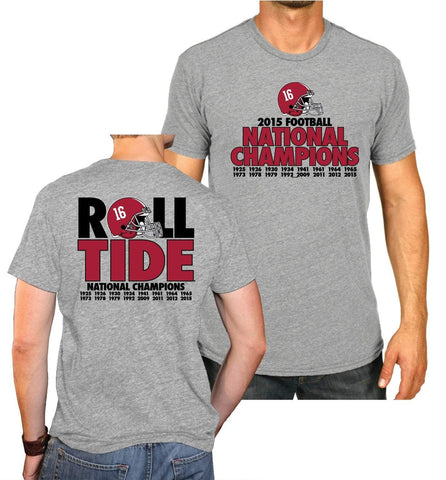 Alabama Crimson Tide 2016 College Football Champs Roll Tide Gray T-Shirt