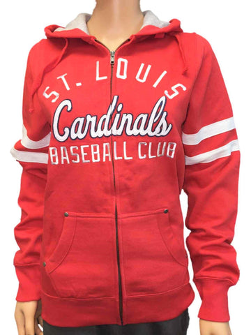 St. Louis Cardinals SAAG Women Red Fleece Zip Up Thermal Hoodie Jacket