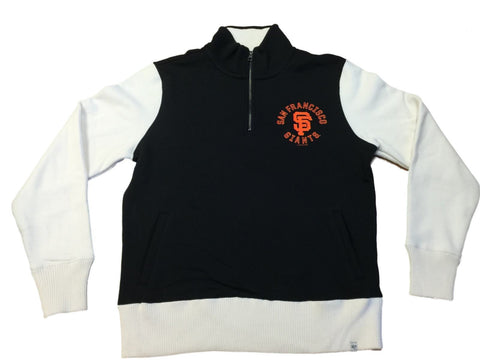 Shop San Francisco Giants 47 Brand Black Ivory 1/4 Zip Up LS Pullover Sweatshirt (M)