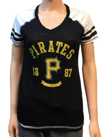 Pittsburgh Pirates SAAG Women Black Light Baseball Tri-Blend V-Neck T-Shirt