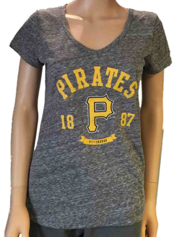 Pittsburgh Pirates SAAG Women Gray Loose Fit Soft Baseball V-Neck T-Shirt - Sporting Up