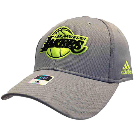 Shop Los Angeles Lakers Adidas Gray Neon Yellow Performance Flexfit Hat Cap 41447f2c438b