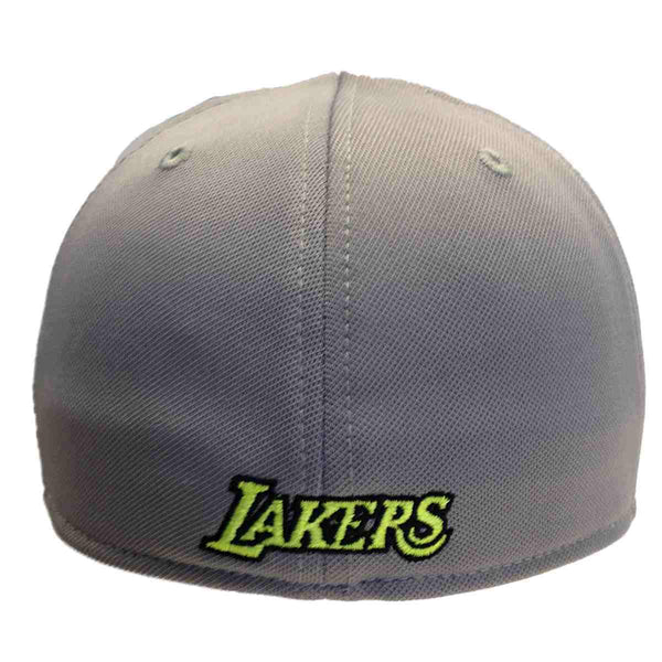 Los Angeles Lakers Adidas Gray Neon Yellow Performance Flexfit Hat Cap  c9b91e5a57b1