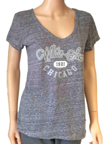 Chicago White Sox SAAG Women Gray Loose Soft Baseball V-Neck T-Shirt