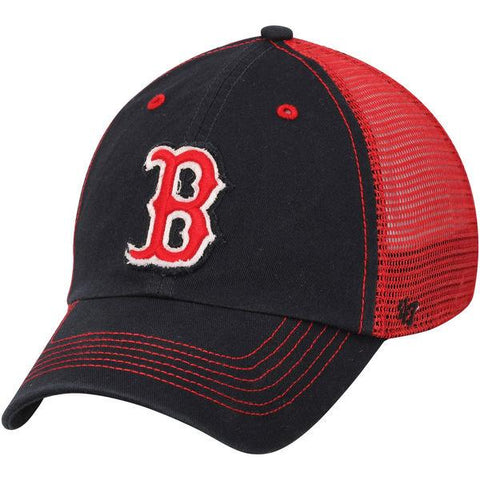 Shop Boston Red Sox 47 Brand Navy Red Taylor Closer Mesh Stretch Fit Slouch Hat Cap