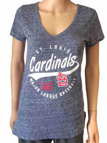 St. Louis Cardinals SAAG Women Navy Loose Soft Baseball V-Neck T-Shirt