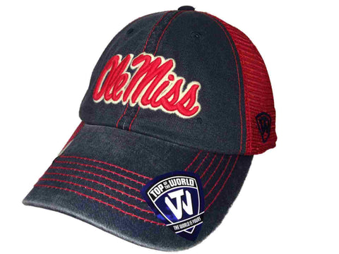 Ole Miss Rebels TOW Navy Red Crossroads Mesh Adjustable Snapback Hat Cap - Sporting Up