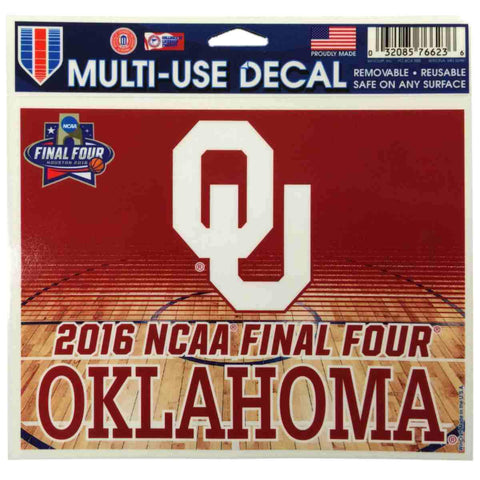 "Oklahoma Sooners Wincraft 2016 Final Four Multi Use Reusable Decal Sticker 4""x5"""