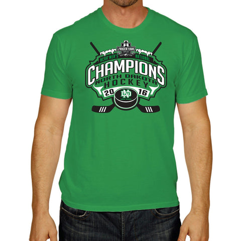 North Dakota Fighting Hawks 2016 Frozen Four Hockey Champions Green T-Shirt - Sporting Up