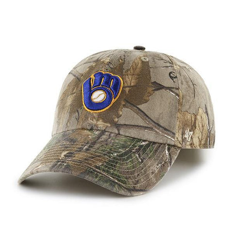 Milwaukee Brewers 47 Brand Realtree Camo Clean Up Slouch Adjustable Hat Cap