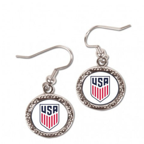 United States National USA Soccer Team White Red Blue Dangling Earrings