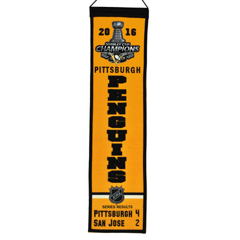 "Pittsburgh Penguins 2016 NHL Stanley Cup Champions Heritage Banner (8""x32"")"