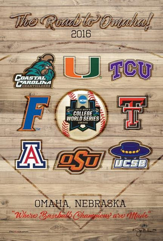 2016 NCAA Baseball College World Series The Road to Omaha 8 Team Print Poster
