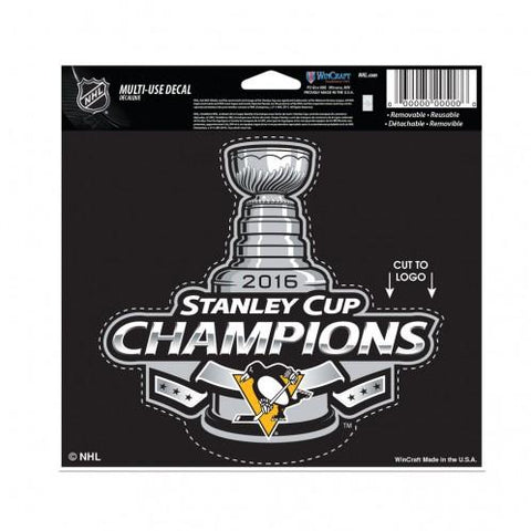 "Pittsburgh Penguins Wincraft 2016 Stanley Cup Champs Decal 4.5"" x 5.75"""